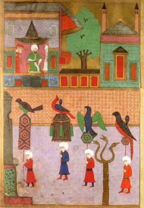 Surnâme-i Hümayun'da Şehzade Mehmet'in sünnet şenliği ve İbrahim Paşa Sarayı şahnişininden töreni izleyen Sultan III. Murat (TSMK, Hazine)